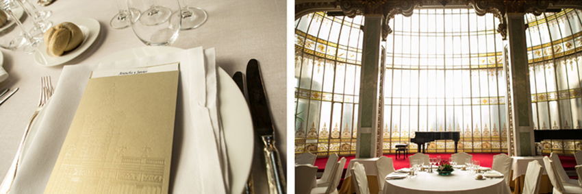 Decoración de las mesas. Reportaje de boda en el Casino de Madrid